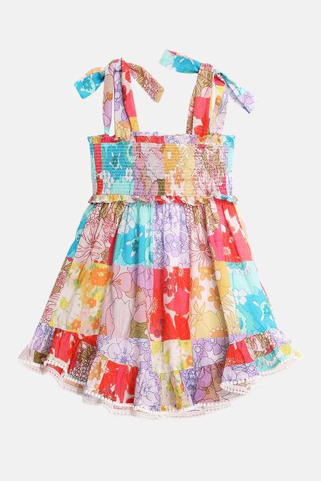 kids Zimmermann Bells Shirred Tie Dress - multi floral