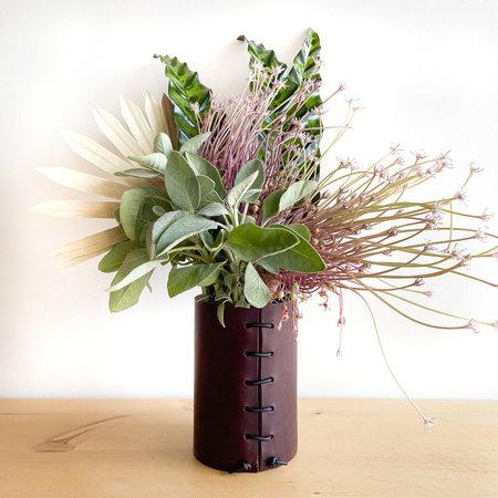 Made Solid Latigo Leather Wrapped Vase - Burgundy