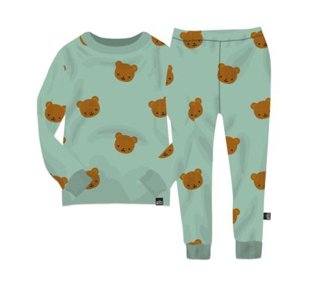 Kids WHISTLE & FLUTE Kawaii Bear Pajama Set - Green
