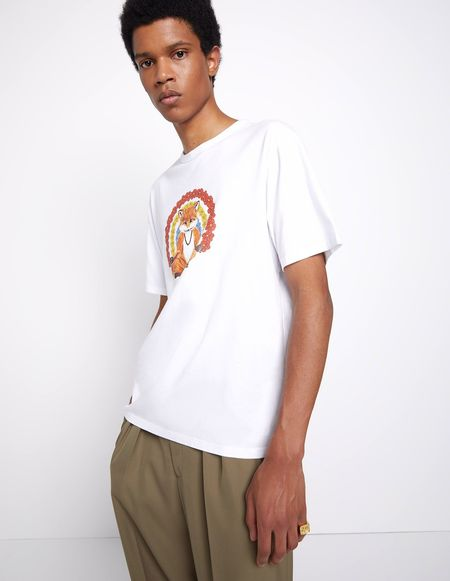Kitsune Tee Shirt with Flower Fox Print - White