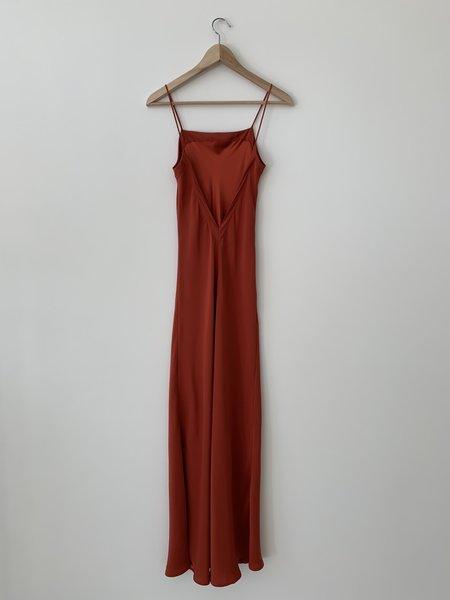 Kamperett Long Silk Slip - Rust