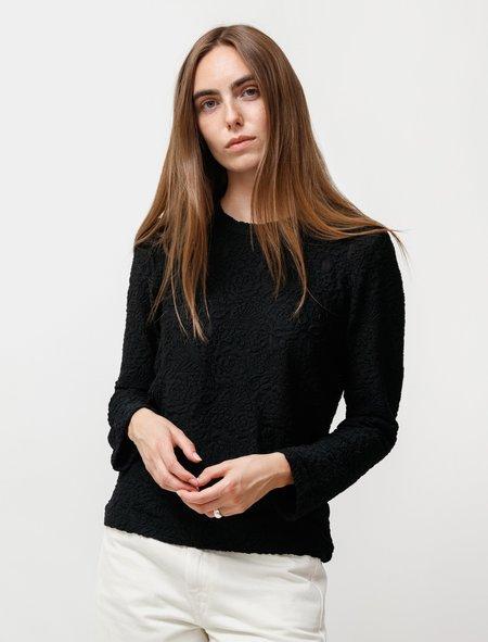 Comme des Garçons Tonal Lace Long Sleeve T Shirt - Black