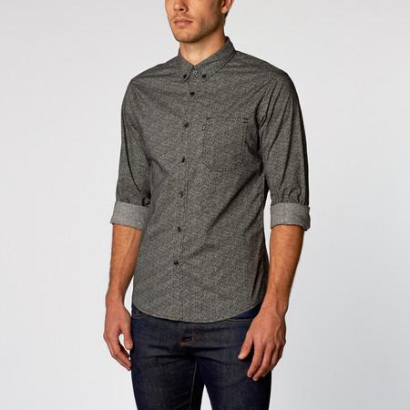 Men's Wolf & Man  Mordecai - Black micro floral dress shirt