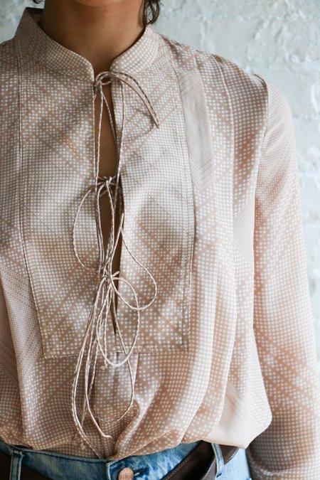 [pre-loved] Rhie Printed Blouse - Tan