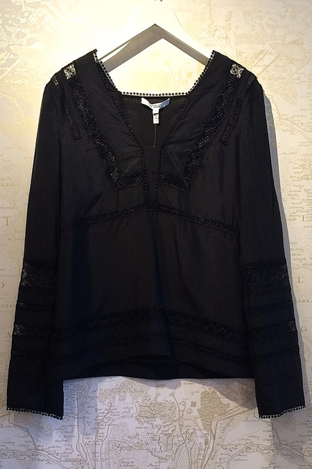 Derek Lam 10 Crosby Long Sleeve Low V-Neck Blouse with Lace Detail
