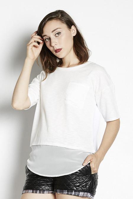 Chiffon Hem Cropped T-Shirt