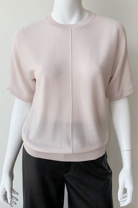 Closed Short Sleeve Knit Top - Rose Quartz