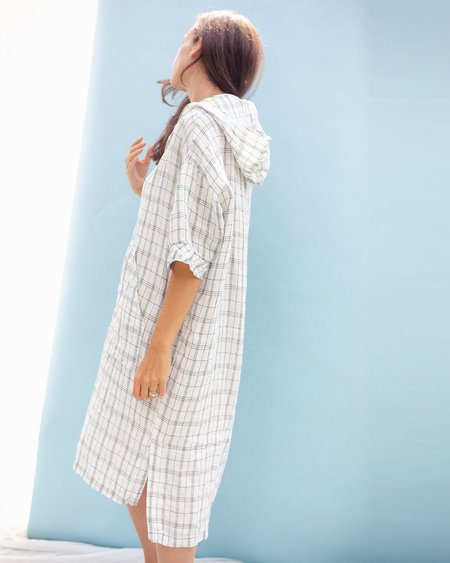 Puco Leele Plaid Hooded Tunic - White Check