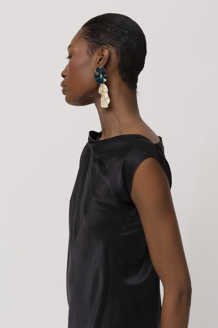 KES Sleeveless Zora Asymmetric Top - Black