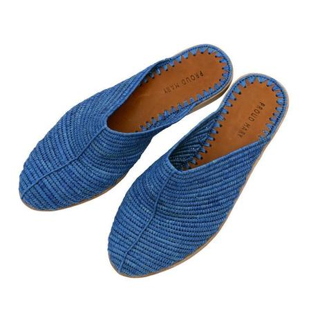 Proud Mary Footwear Raffia Closed-Toe Slide - Blue
