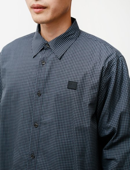 Acne Studios Face Relaxed Micro Check Shirt - Dark Navy/Turquoise Check