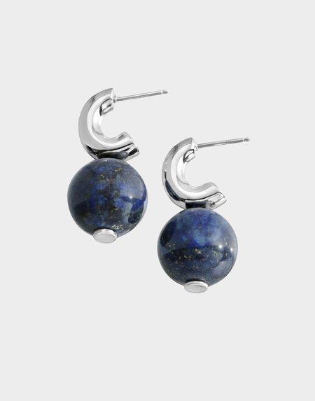 Modern Weaving Petite C-Curve Lapis Earrings - Sterling Silver