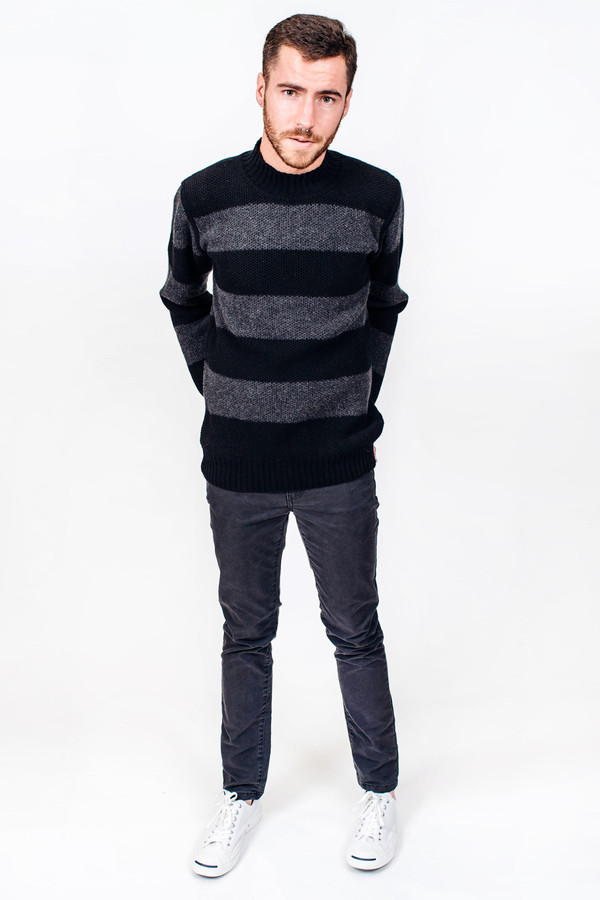 Men's Soulland Mansour Striped Waffle Turtleneck