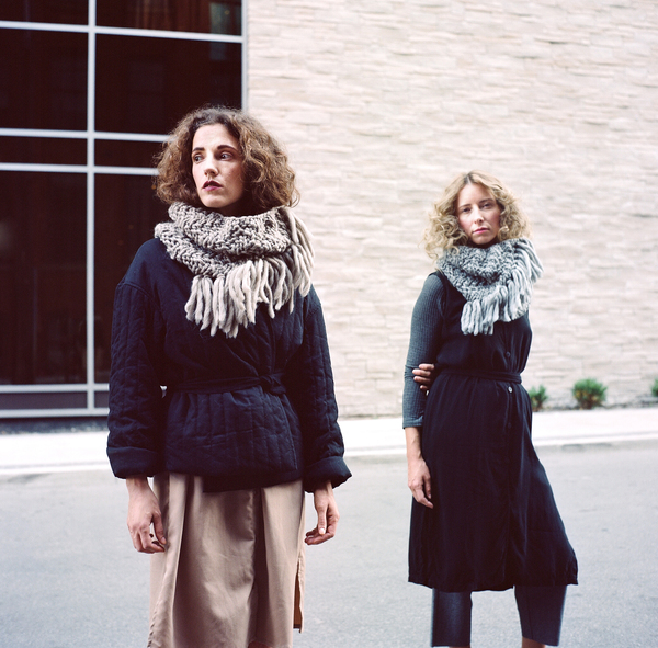 good night, day Durand Cowl diagonal ribbed w/ fringe (shown in fawn & gray)