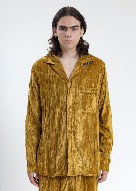 LUKEWARMPEOPLE Velvet Pajama Shirt - Mustard