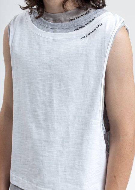 LUKEWARMPEOPLE Triple Layer Muscle Tee - White