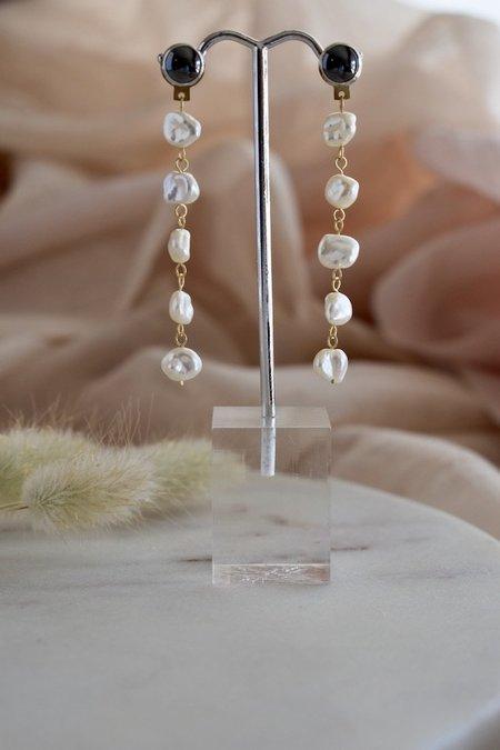 Kari Phillips Hematite & Freshwater Pearl Cascade Earrings