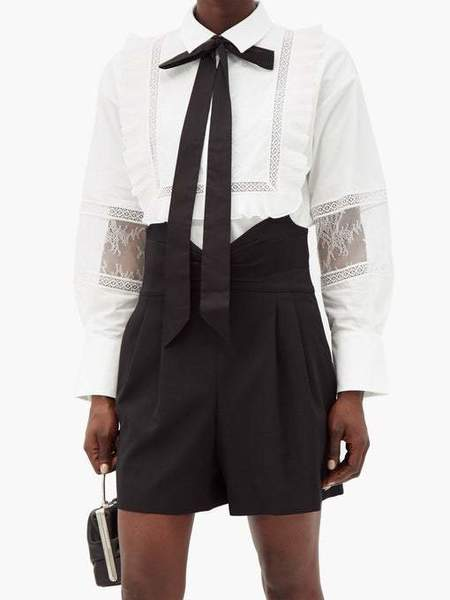 Self-Portrait Poplin Ruffle Bow Tie Top - White