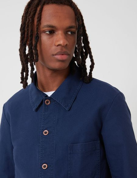 Vetra French Workwear Jacket Short in Cotton Drill - Navy Blue
