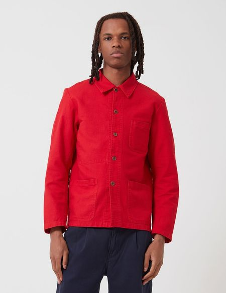Vetra French Workwear Cotton Drill Short  Jacket - Poppy Red