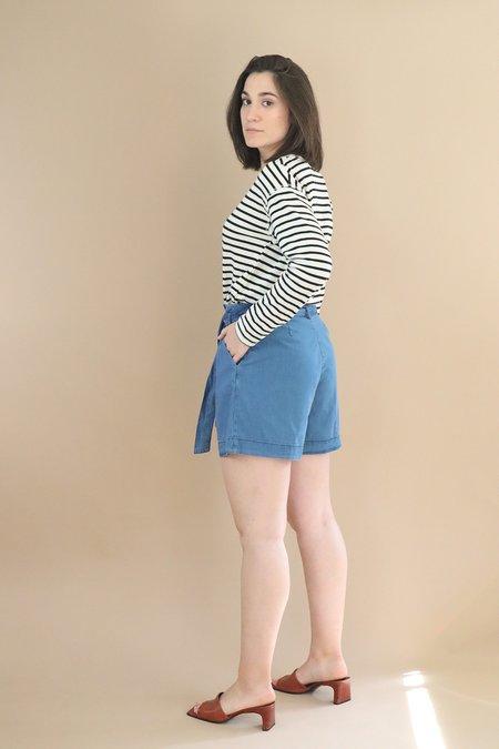 Nice Things belted Shorts - Denim
