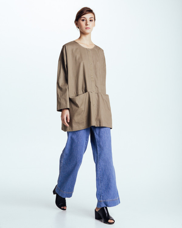 Revisited Matters Cropped Raincoat Top in Forest