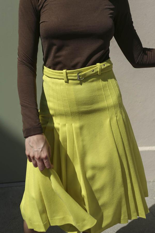 Maryam Nassir Zadeh Renata Pleated Skirt in Acid