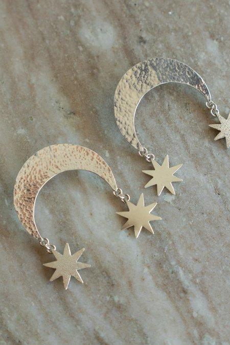 Morgaine Faye Moon Scale Earrings - sterling silver
