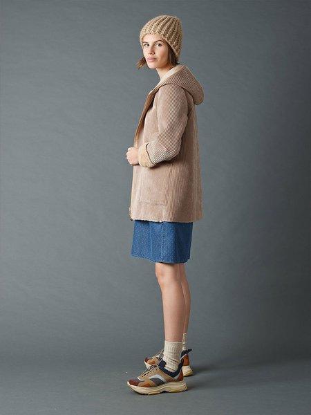 Indi & Cold Hooded Fur Coat - Beige