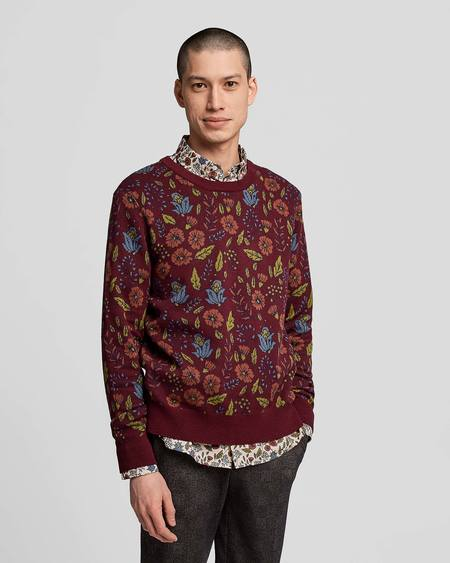 Poplin & Co. Crew Neck Jacquard Knit Sweater With Floral Tapestry Pattern - Multicolor