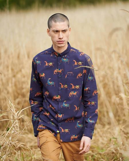 Poplin & Co. Nomad Horses Printed Casual Button Down Long Sleeve Shirt