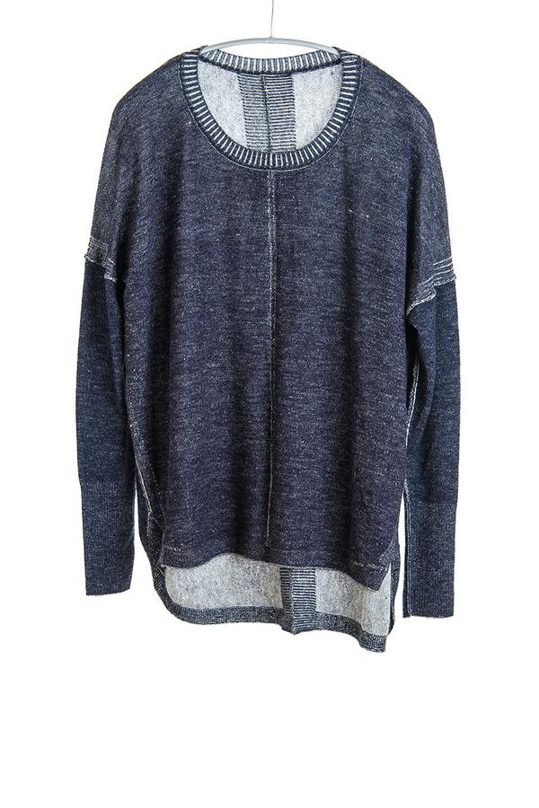 Paychi Guh Cashmere Two Tone Sweatshirt Navy/Ivory