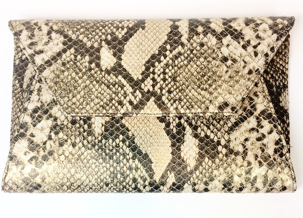 Oliveve cleo envelope clutch in gold cobra cow leather