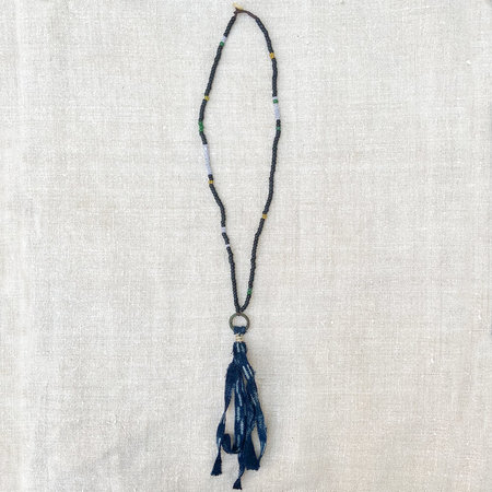 UNISEX MADE SOLID Antique African Trade Bead Necklace with Indigo Cloth Pendant
