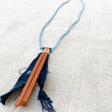 UNISEX MADE SOLID Antique African Trade Bead Necklace with Leather and Indigo Pendant