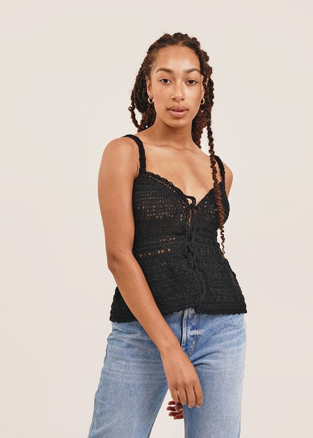 Shereen Mohammad Zaira Handmade Camisole Crochet Top - Black