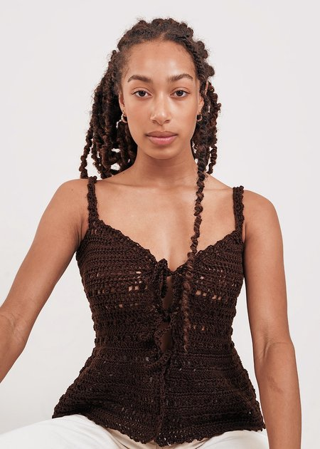 Shereen Mohammad Zaira Handmade Camisole Crochet Top - Brown