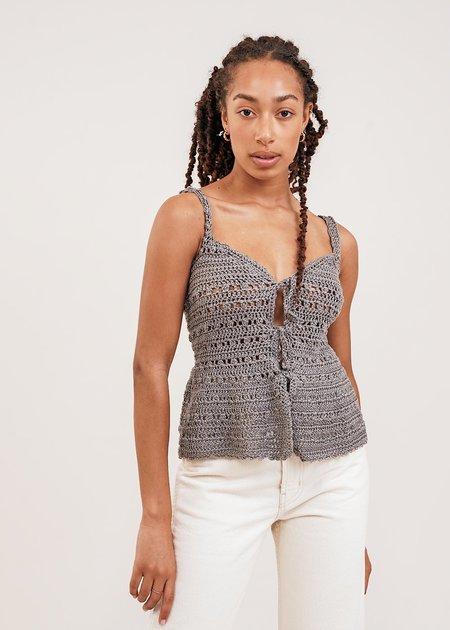 Shereen Mohammad Zaira Handmade Camisole Crochet Top - Grey