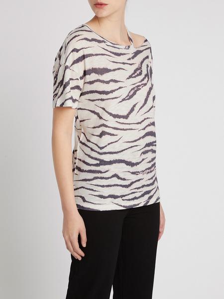 Paige Slashed Ryo Tee - Gardenia/Black Zebra