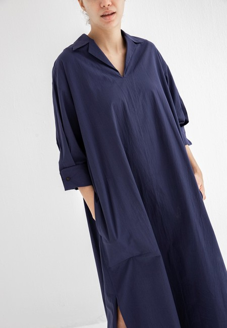SAYAKA DAVIS OPEN COLLAR SHIRT DRESS - NAVY