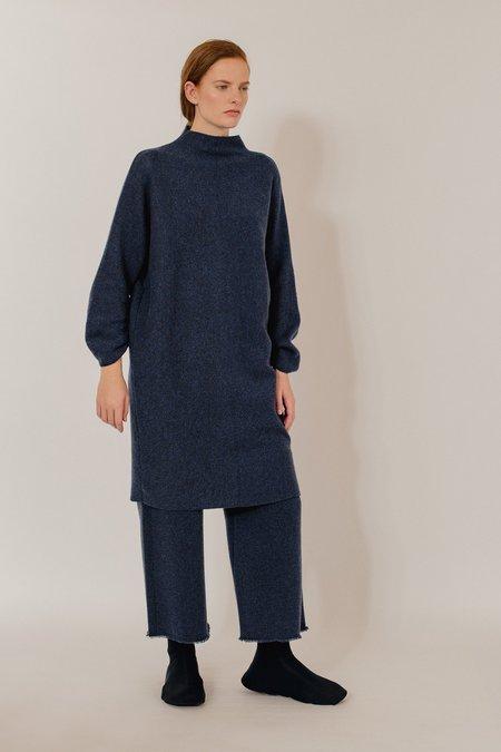 Oyuna Isma Knitted Cashmere Dress - Dark Blue Rain
