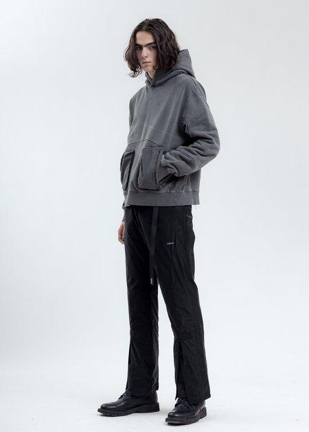 C2H4 Cold-Dye Paneled Hoodie sweater - Dark Grey