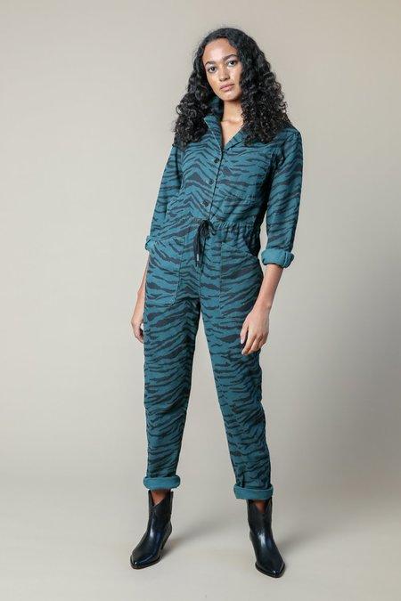 Rachel Antonoff Ziggy Jumpsuit - Dark Emerald/Black Zebra Print