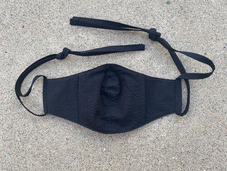 Tony Shirtmakers Lightweight Japanese Cotton Tonal Seersucker Face Mask - Black
