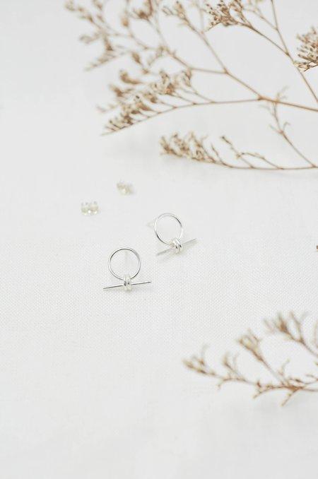 Wild Fawn Circle Drop Bar Stud Earrings - Silver