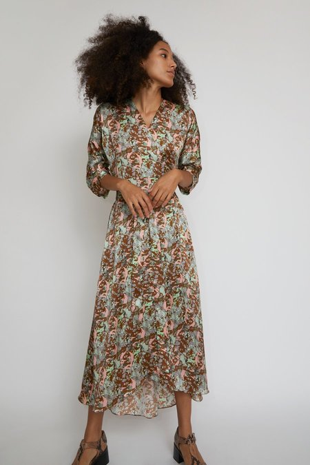 No.6 Georgia Wrap Dress - Mint Ochre Galaxy