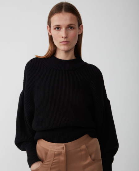 Just Female Sophie High Neck Knit Sweater - Black