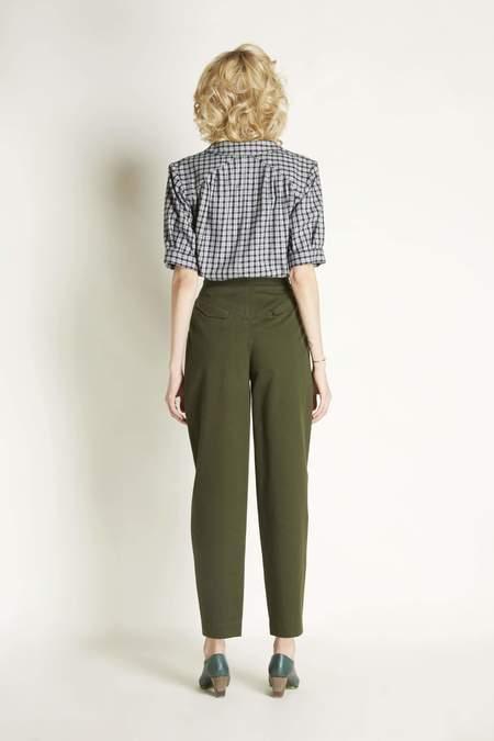 Christine Alcalay Short Sleeved Pleated Blouse Plaid - Black/White