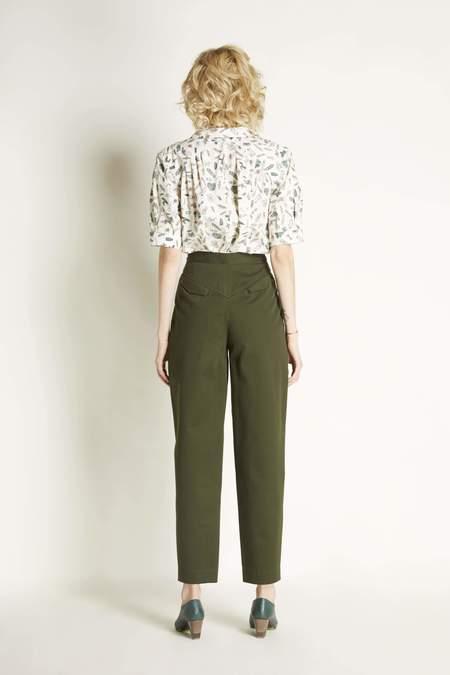 Christine Alcalay Silk Short Sleeved Pleated Blouse - Barrettes Print