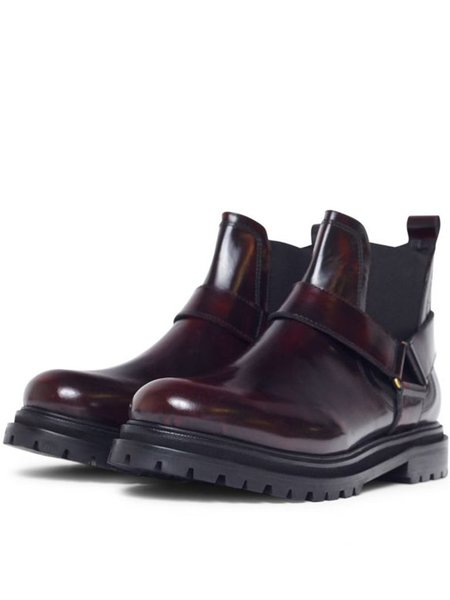 Hudson Moss Chelsea Boot - Patent Bordo